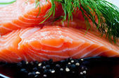 Salmon with black pepper and dill on plate — Stock Photo