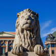 Lion near Norwegian Parliament - Stock Photo