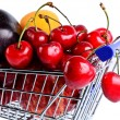 Fruit variety in shopping cart — Stock Photo