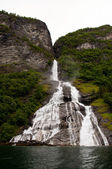 Big waterfall at geirangerfjord — Stock Photo