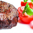 Steak with tomatoes close up — Stock Photo