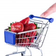 Cart strowberries and finger — Stock Photo