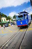 青い路面電車の社説 — ストック写真