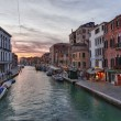 Stock Photo: Canal in Venice, Italy at sunset.