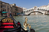 A view from gondola during the ride through the canals of Venice — Stock Photo