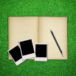 Pencil and photo frame with old book on green grass background — Stock Photo
