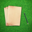 Pencil and old book on green grass background - Stock Photo