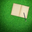 Pencil and old book open on green grass background - Stock Photo