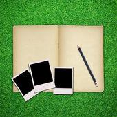 Cornice foto e matita con vecchio libro su sfondo verde erba — Foto Stock
