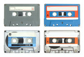 Set of cassette tape isolated on white with clipping path — Stock Photo