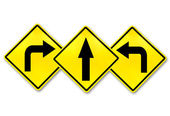 Signs straight, turn left, turn right — Stock Photo