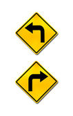 Right turn and left turn road signs — Stock Photo