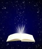 Open boek magie op nacht hemelachtergrond — Stockfoto