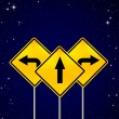 Signs straight, turn left, turn right on night sky — Stock Photo