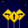 Signs straight, turn left, turn right on night sky — 图库照片
