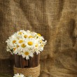 Rustic daisy bouquet in vintage style with background for text — Stock Photo