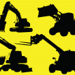 Construction vehicles silhouettes — Stock Photo