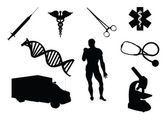 Medical equipment and related signs silhouettes — Stock Photo