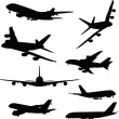 Stock Vector: Airplanes silhouettes