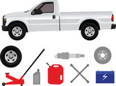 Pick-up truck with group of repair shop elements — Stock Vector