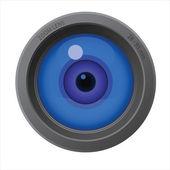 An eye inside of camera lens — Stock Vector