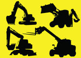 Construction vehicles silhouettes — Stock Vector