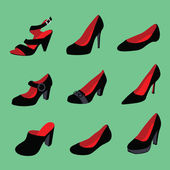женская обувь коллекция — Cтоковый вектор