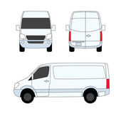 Delivery van white three sides vector illustration — Vecteur