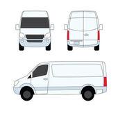 Dostawy biały van trzech stron wektorowych ilustracji — Wektor stockowy