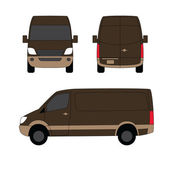Delivery van brown three sides vector illustration — Stock Vector