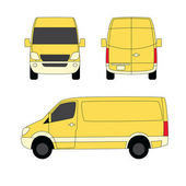 Delivery van yellow three sides vector illustration — Stock Vector