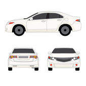 Large sport sedan three side view vector illustration — Stock Vector