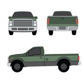 Pick-up truck green three sides view vector illustration — Stock Vector