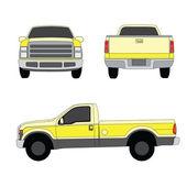 Tre lati di pick-up camion giallo mostra illustrazione vettoriale — Vettoriale Stock