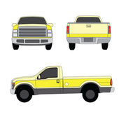 Pick-up truck yellow three sides view vector illustration — Stock Vector