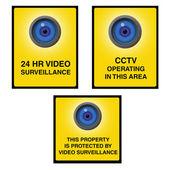 Videobewaking camera teken de blue eye — Stockvector