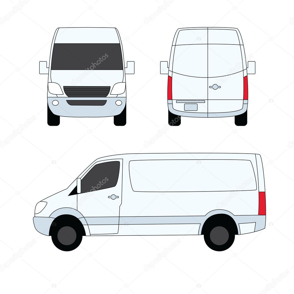Delivery van white three sides vector illustration — Stock ...