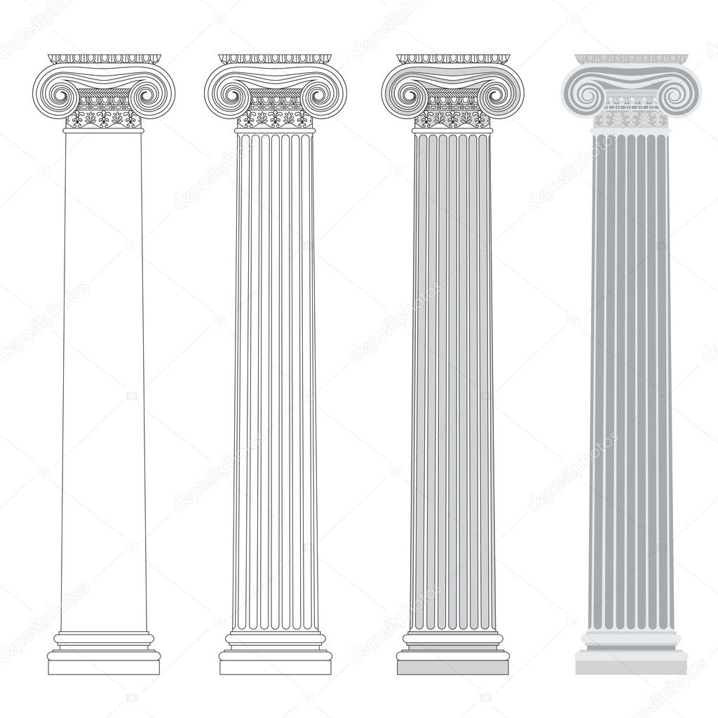 Ionic column in different styles. An outline, a fill color outline and basic shades drawing. — Stock Vector #12180817