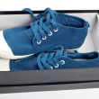 Pair of new blue shoes in shoe box — Stock Photo #11652521