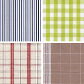 Set of different fabrics textures are on a white background. — Stock Photo