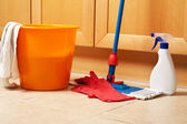 House cleaning with the mop — Stock Photo