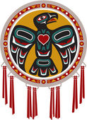 Tambor nativo americano con águila — Vector de stock