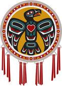 Tamburo nativi americano con aquila — Vettoriale Stock