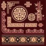 Set of Oriental Pattern Elements — Stock Vector