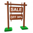 Sale wooden banner — Stock Photo