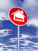 Guest house sign for traffic — Foto Stock