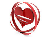 Red heart with rings — Stock Photo
