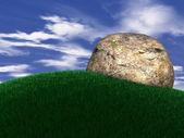 Big rock on grass — Stock Photo