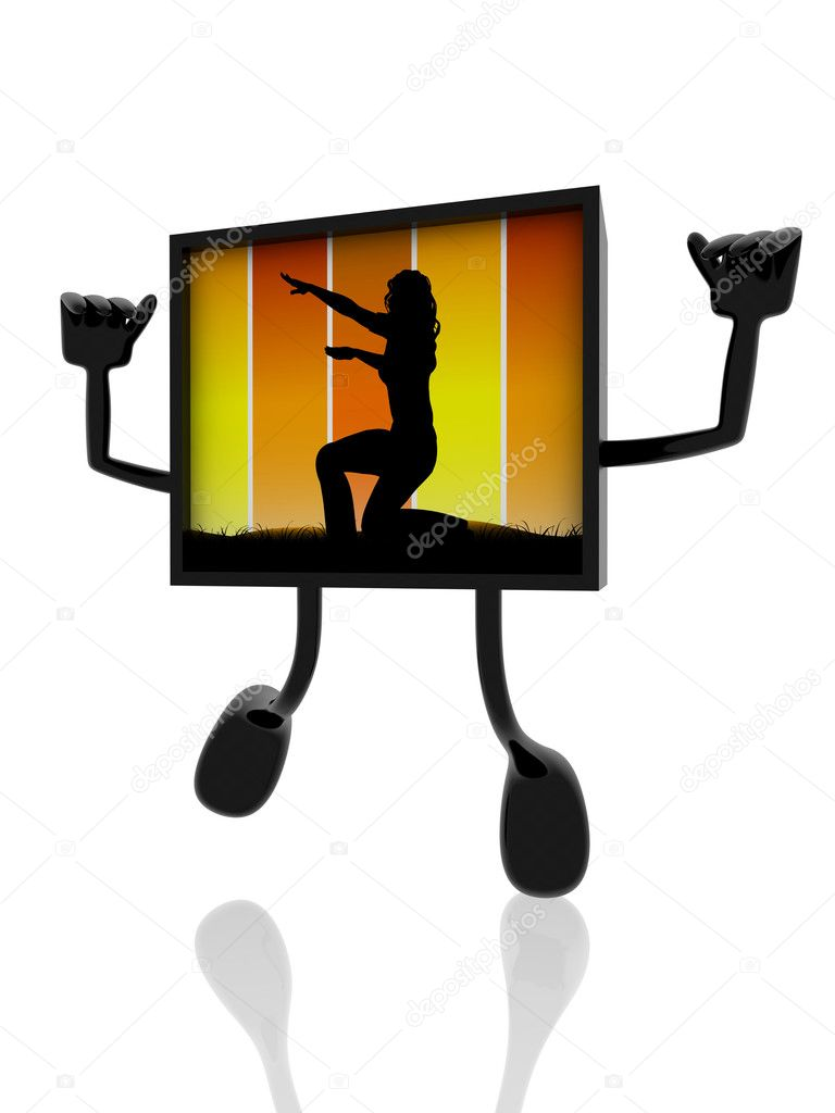 Acrobatic silhouette on 3d banner — Stock Photo #11259857