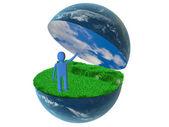 地球上の 3 d の人 — ストック写真